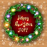 Happy new year 2017 green wreath Realistic Christmas coniferous wreath. Vector Christmas happy new year 2017 green wreath. background. snow. light art Royalty Free Stock Image