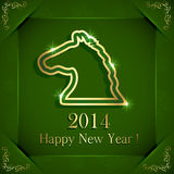 Happy New Year. Green New Years background with horse, illustration Stock Images