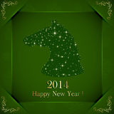 Happy New Year 2014. Green New Years background with horse from stars and golden floral elements, illustration Royalty Free Stock Photography