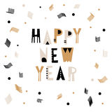 Happy New Year greeting background. Holiday winter template with abstract geometric confetti. Vector Illustration. Happy New Year greeting background. Holiday Royalty Free Stock Image