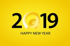 2019 Happy New Year greeting banner with Curly Pig Tail in a shape of number. A symbol of the Chinese 2019 year. 2019 Happy New Year greeting banner with Curly vector illustration