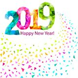 Happy New Year 2019. Greeting banner. Festive background with colorful confetti, party popper and sparkles. Vector vector illustration