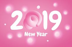 2019 Happy New Year greeting banner with Pink Pig Tail in a shape of number. A symbol of the Chinese 2019 year. 2019 Happy New Year greeting banner with Curly stock illustration