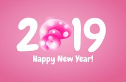 2019 Happy New Year greeting banner with Pink Pig Tail in a shape of number. A symbol of the Chinese 2019 year. 2019 Happy New Year greeting banner with Curly vector illustration