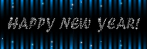 Happy new year greeting banner with snowflakes. The letters are written in white snowflakes on a dark background with highlights. new year greeting card vector illustration