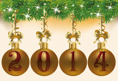 Happy New 2014 Year greeting banner. Vector illustration Royalty Free Stock Image