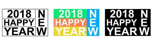 2018 happy NEW YEAR greeting banner words from letters Scrabble, vector EPS Christmas icon logo new year. Set Stock Image