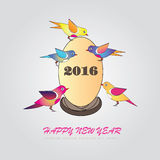 Happy new year 2016. Happy new year greeting with bird and number 2016. Vector illustration Stock Photography