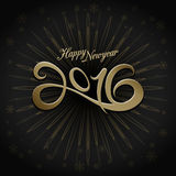 2016 happy new year greeting. On black background vector illustration