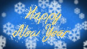 Happy New Year greeting on blue snowy background, congratulation message. Stock footage stock video