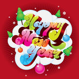 Happy New Year greeting card. Happy New Year color design Royalty Free Stock Photography