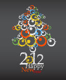 Happy new year greeting card. Happy New year abstract tree. Greeting card Stock Photography