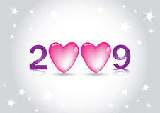 Happy New Year Greeting Card. Happy 2009 New Year Vector Greeting Card with heart and love concept Royalty Free Stock Photos