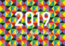 Happy new year greeting card on abstract background. 2019 Happy New Year vector illustration