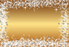 Golden Christmas Frame - christmas background illustration and vector. Stock Image