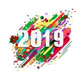 Happy New Year greeting card. Abstract Christmas poster. Vector illustration stock illustration