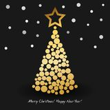 Happy New Year Greeting card with abstract christmas tree from golden circles. Vector illustration. Happy New Year Greeting card with abstract christmas tree Stock Images