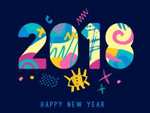 2018 Happy New Year greeting card. With abstract elements on blue background. Hand drawn  illustration. Colorful brightly style Royalty Free Stock Photo