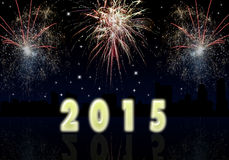 premise of 2015 celebration of the New Year fireworks Royalty Free Stock Images