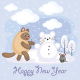 Happy new year greeting. New Year greeting card with an amusing cat and mouse. Winter entertainments. Fun children`s background in cartoon style Royalty Free Stock Image