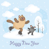 Happy new year. New Year greeting card with an amusing cat and mouse. Winter entertainments. Fun children`s background in cartoon style Royalty Free Stock Images