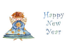 Happy new year greeting card angel Royalty Free Stock Photo