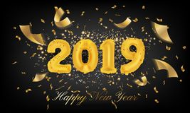 2019 Happy New Year Greeting Card Background. 2019 Balloon Vecto stock illustration
