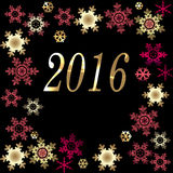 Happy New Year greeting card background. Happy New Year 2016 greeting card on black background Royalty Free Stock Image