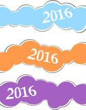 2016 Happy New Year greeting card or background, christmas stickers set  on white. Background Stock Photo