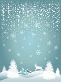 2019 Happy New Year Snowfall fantasy 3d craft. 2019 Happy New Year greeting card background with Christmas tree, forest, reindeer, country, falling snowflakes stock illustration