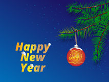 Happy new year greeting card / background. 2017 happy new year background / card with fir tree branches and christmas ball decoration Royalty Free Stock Photo