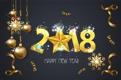 Happy New year 2018 greeting card background with gold star.  Royalty Free Stock Photography