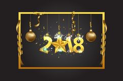 Happy New year 2018 greeting card background with gold star.  Royalty Free Stock Image