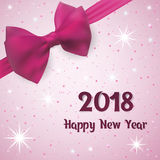 Happy New Year Greeting card 2018. Background with snow and stars decorated a pink bow with a tape. Royalty Free Stock Photos