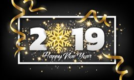 2019 Happy New Year Greeting Card Background. Vector illustratio royalty free illustration