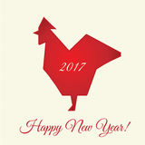 2017 happy new year greeting card, banner with silhouette of Red Rooster. Vector illustration Stock Image