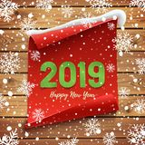 Happy New Year 2019 Greeting card, banner template. vector illustration
