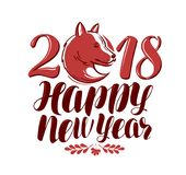 2018, Happy New Year. Greeting card or banner. Typographic design, lettering vector. 2018, Happy New Year. Greeting card or banner. Typographic design vector Stock Photos