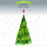 Happy New Year Greeting Card with big Christmas tree , snowflake and  red star,  illustration. Perfect as invitation or announcement Stock Images