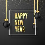 Happy New Year Greeting Card. Black Christmas Balls with Golden Ribbons and Festive Gold Text in White Frame. Vector. Illustration isolated on dark background vector illustration