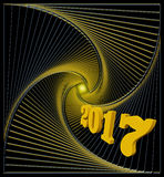 Happy new 2017 year greeting card in black and golden colors Stock Images