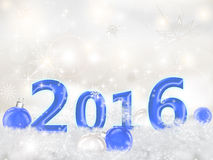 Happy New Year 2016. Greeting Card Happy New Year 2016.Blue numbers 2016 and Christmas balls in the snow Royalty Free Stock Photography