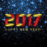 2017 Happy New Year greeting card with blue stars and lights. On black background Stock Photo