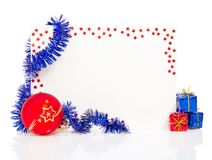 Happy New Year greeting card with blue tinsel. Happy New Year 2013 greeting card with blue tinsel and red ball isolated on white Royalty Free Stock Photography