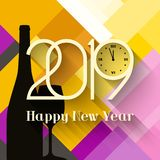 2019 Happy New Year. Greeting card. With bottle of Champagne and glass on abstract background. Numbers with clock that count midnight stock illustration