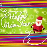 Happy New Year greeting card. On bright background. Happy New Year greeting card on bright background with colorful laces with Santa Claus. Vector Stock Image