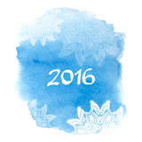 Happy New Year 2016 greeting card. Bright blue. Spot with snowflakes. Abstract stylish watercolor background. Vector illustration good for cards, posters, web Royalty Free Stock Image