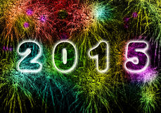 New Year fireworks explosion in 2015. Greeting New year card in 2015.Bright colored fireworks on black background. Welcoming the new 2015 sheep Stock Images