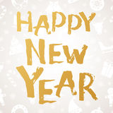 Happy New Year Greeting Card. Brush hand drawn lettering Royalty Free Stock Images