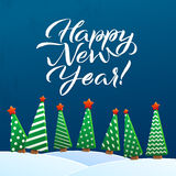 Happy New Year Greeting Card. Brush Lettering, vector illustration. Stars, Christmas trees and Snowdrifts. Christmas Stock Image
